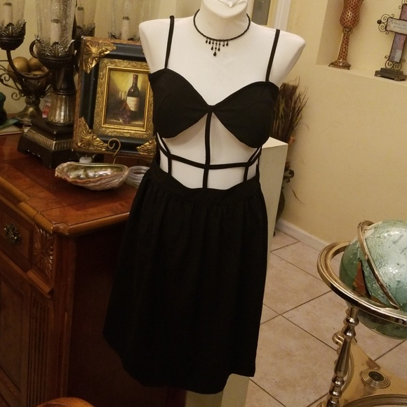 92cb99dcbec0 New Trendy Rehab Sexy Black Cage Dress